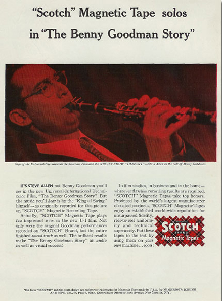 1956 ad for 3M Scotch reel to reel recording tape featuring Benny Goodman in the Reel2ReelTexas.com vintage recording collection