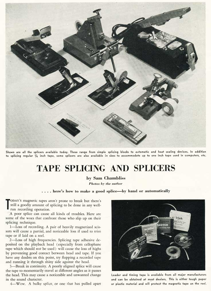 tape splicer ad in  the Museum of Magnetic Sound Recording