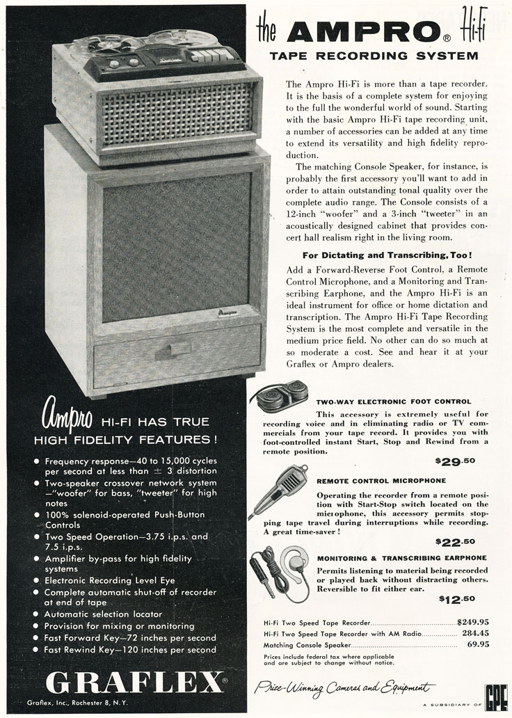 1957 Ampro Graflex reel tape recorder ad in the Reel2ReelTexas.com vintage recording collection