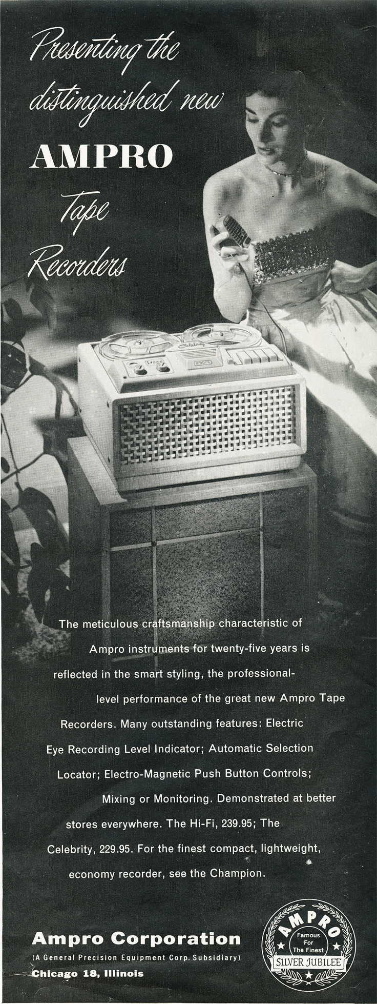 1957 Ampro tape recorder ad in the Reel2ReelTexas.com vintage recording collection
