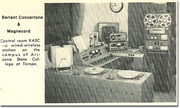 1957 photo of the KASC radio station showing Concertone and Magnecord  reel to reel tape recorders in the Reel2ReelTexas.com vintage recording collection