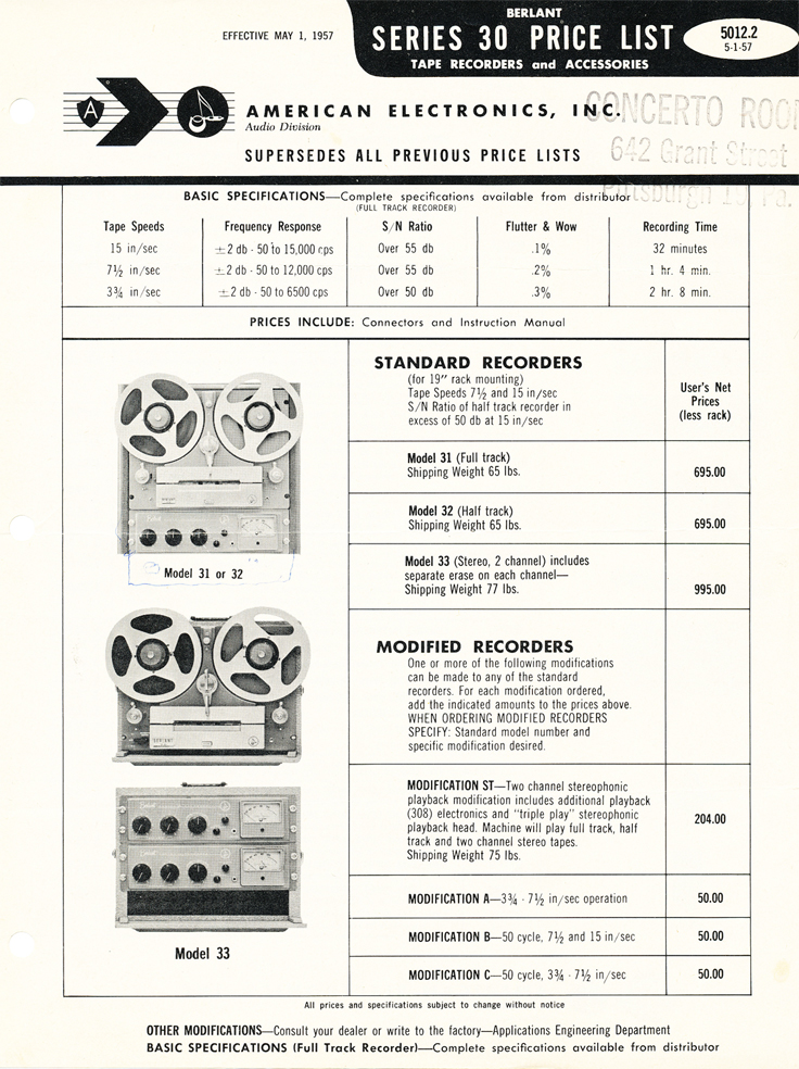 1957 price list for Concertone reel to reel tape recorders in the Reel2ReelTexas.com vintage recording collection