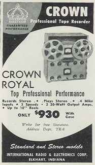 1957 Crown reel to reel tape recorder ad in the Reel2ReelTexas.com vintage recording collection
