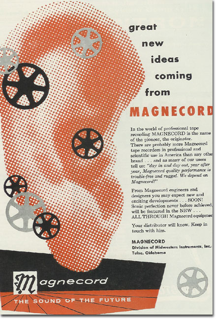1957 ad for the Magnecord reel to reel tape recorder in the Reel2ReelTexas.com MOMSR vintage recording collection