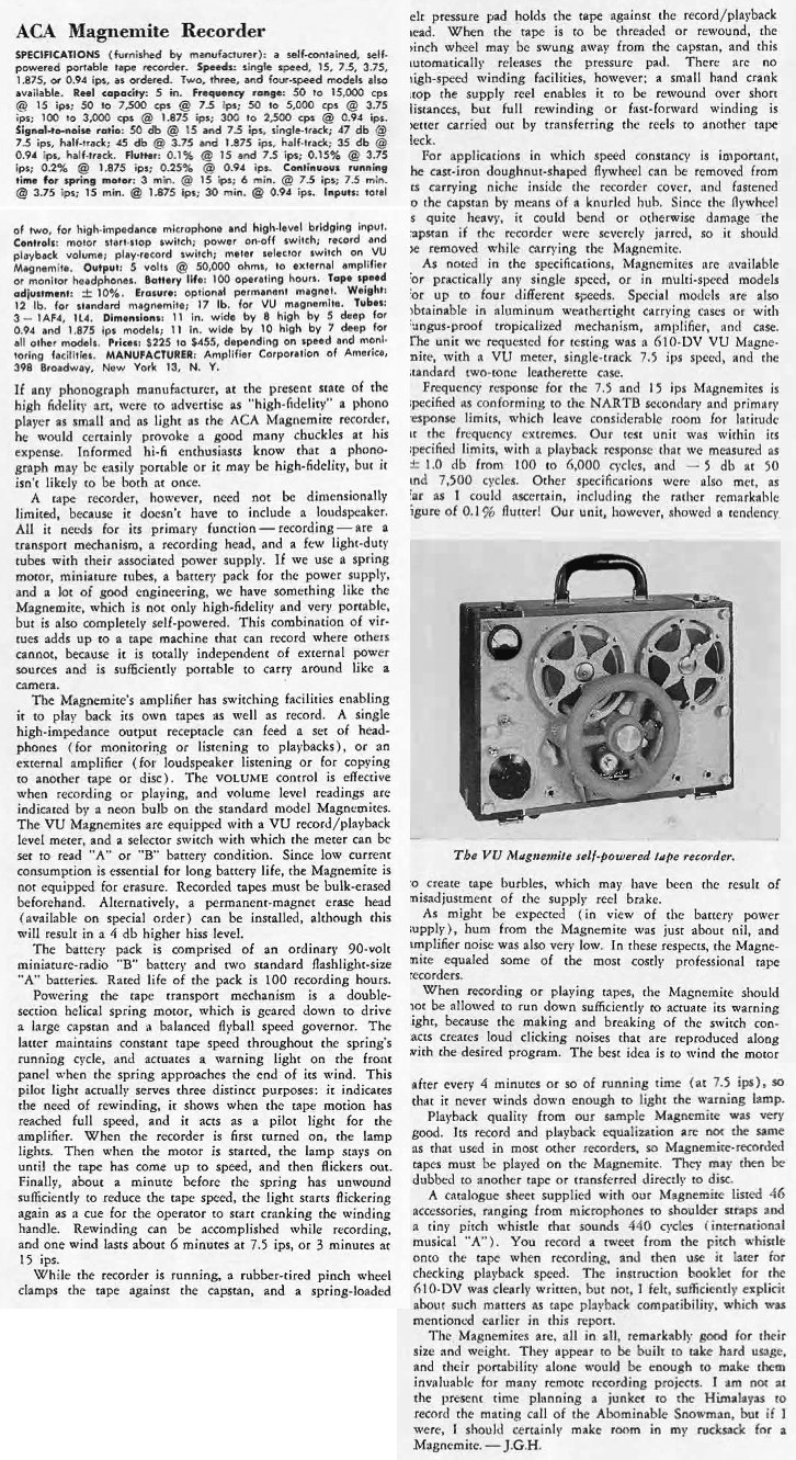 1957 review of the Amplifier Corporation's reel to reel tape recorders including the Magnamite VU in the Reel2ReelTexas.com vintage recording collection