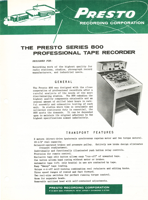 1957 Presto 800 Series professional reel tape recorder ad in Reel2ReelTexas.com vintage reel tape recorder collection