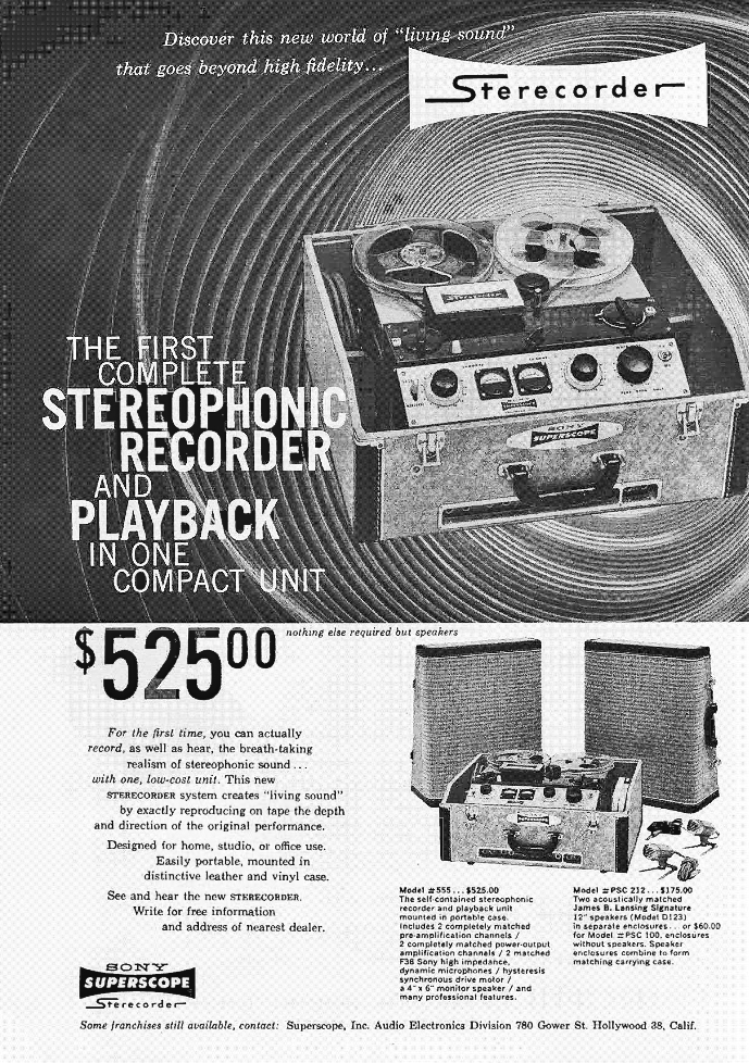 1957 ad for the Sony 555 reel to reel tape recorders in the Reel2ReelTexas.com's vintage reel tape recorder recording collection