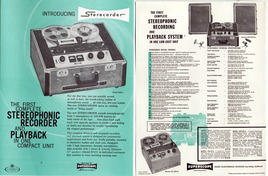1957 ad for the Sony 555 reel to reel tape recorder in the Reel2ReelTexas.com vintage recording collection