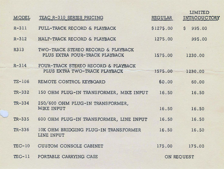 1957 Teac Price List for the Teac RC310 reel to reel tape recorder photo in the Reel2ReelTexas.com vintage recording collection