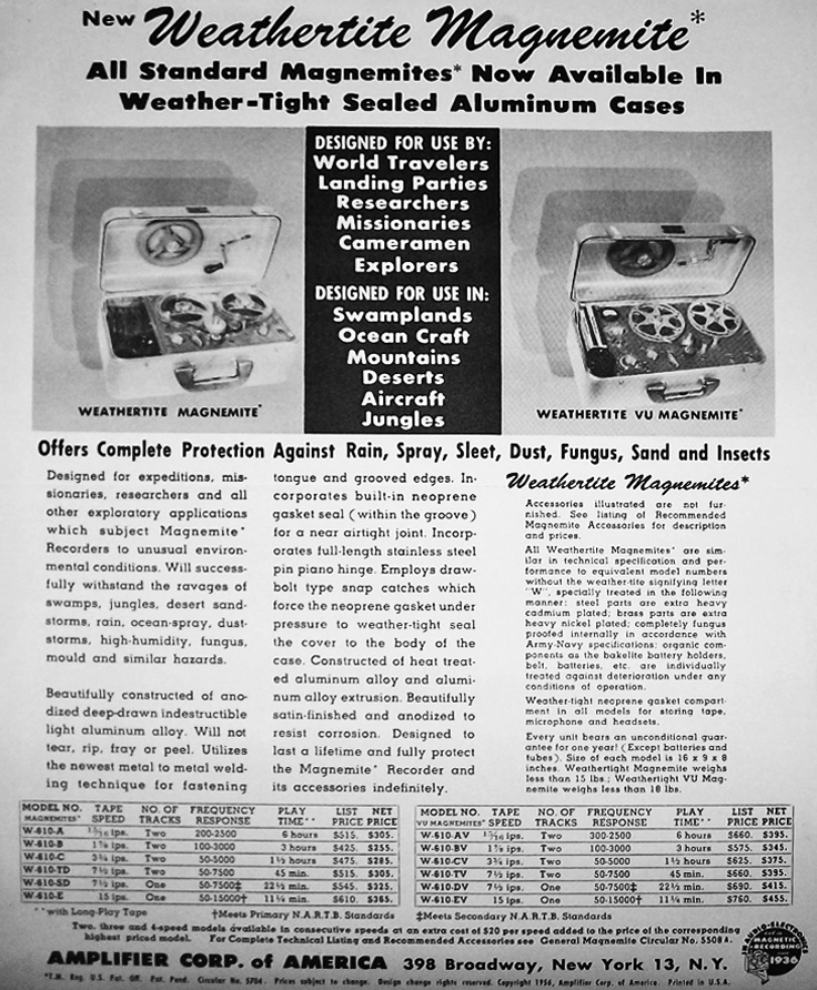 1958 catalog for Amplifier Corporation's reel to reel tpe recorders and supplies including the Magnamite in the Reel2ReelTexas.com vintage reel tape recorder recording collection