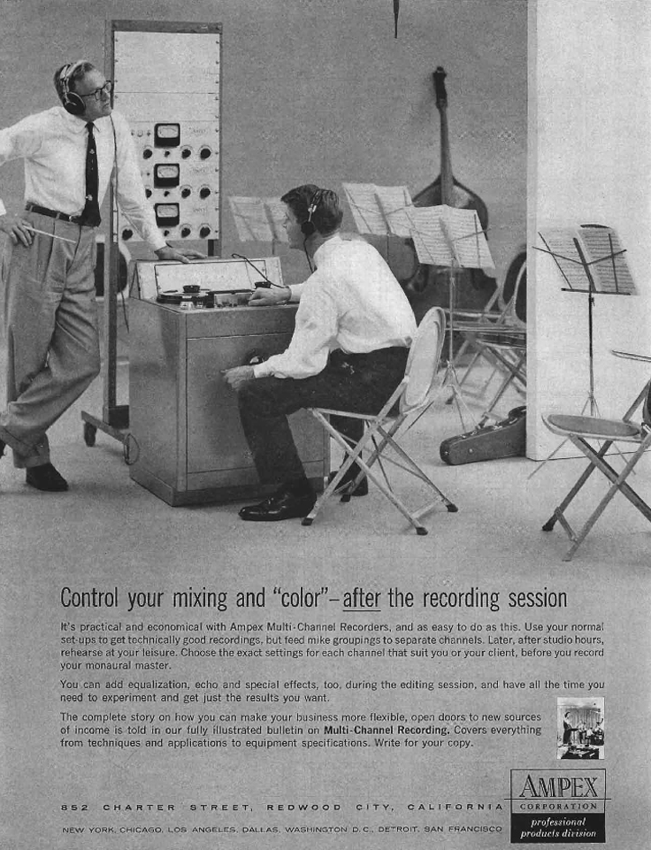 1958 ad for Ampex professional reel to reel tape recorders in the Reel2ReelTexas.com vintage recording collection