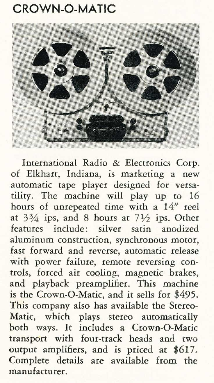 1958 Crown reel to reel tape recorder review in the Reel2ReelTexas.com vintage recording collection