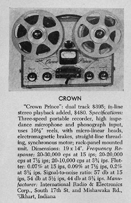1958 review of the Crown Prince professional reel to reel tape recorder in the Reel2ReelTexas.com vintage recording collection