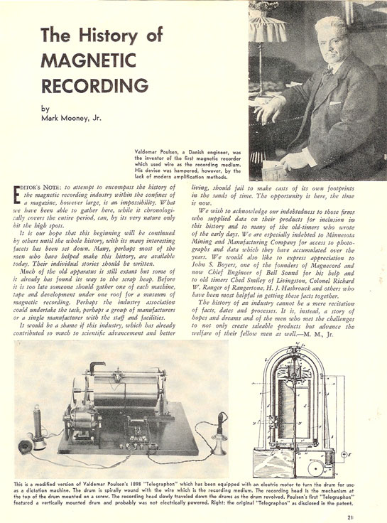 History of reel to reel tape recording up to 1958 page 1