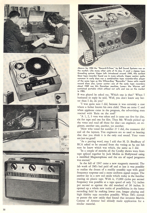 History of reel to reel tape recording up to 1958 page 10