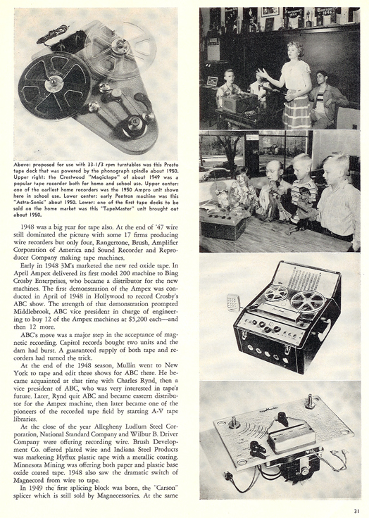 History of reel to reel tape recording up to 1958 page 11
