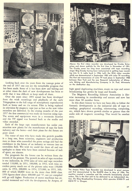 History of reel to reel tape recording up to 1958 page 17