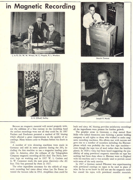 History of reel to reel tape recording up to 1958 page 3