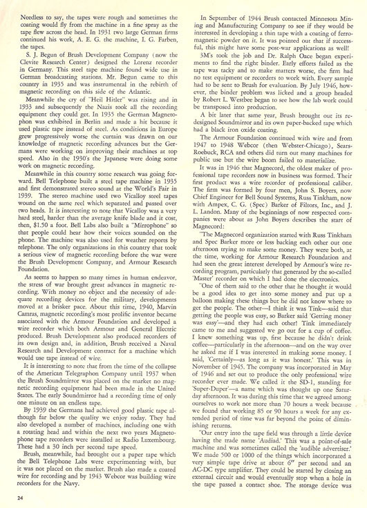 History of reel to reel tape recording up to 1958 page 4
