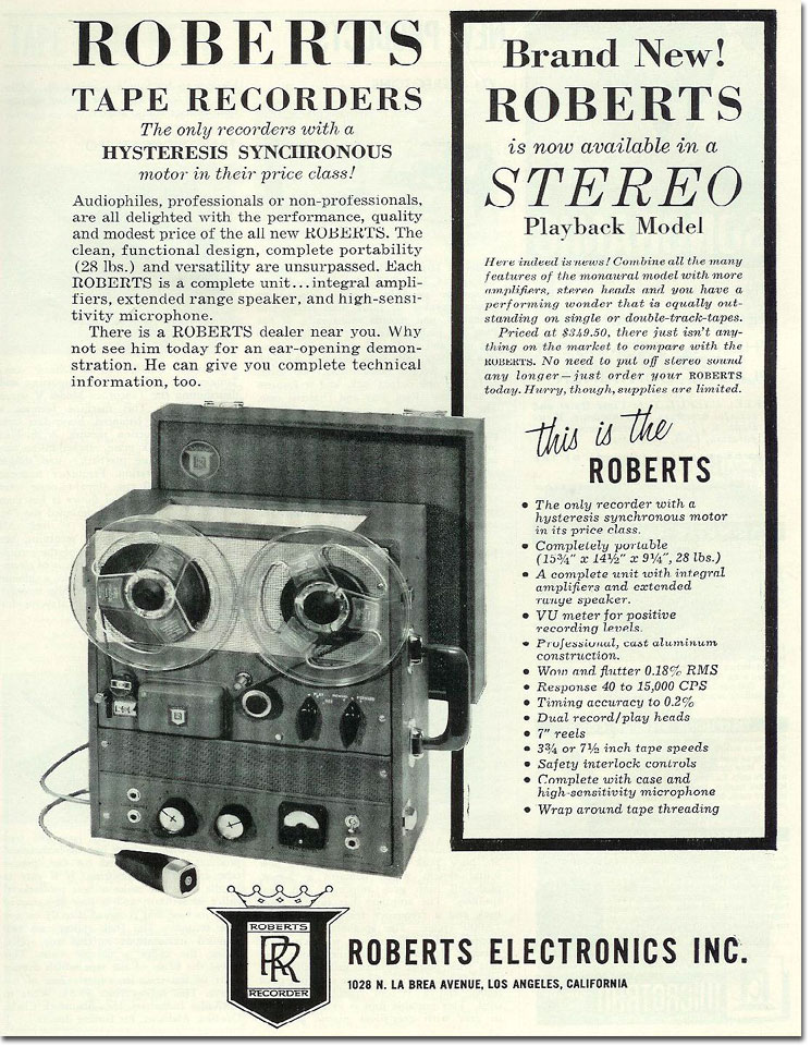 "1958 ad for Roberts Recorders using the double ""R"" logo in the Museum of Magnetic Sound recording"