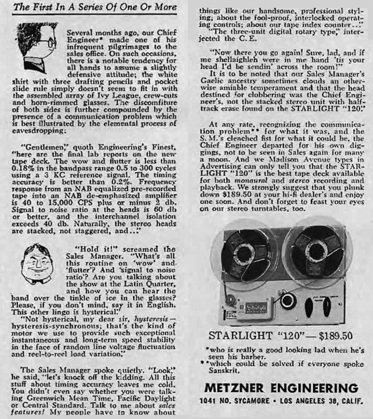 1958 ad for the Metzner Starlight reel to reel tape deck in the Reel2ReelTexas.com vintage reel tape recorder recording collection
