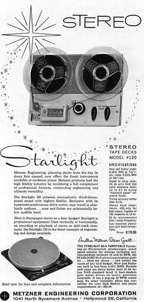 1958 ad for the Metzner Starlight reel to reel tape deck and the metzner Starlight turntable in the Reel2ReelTexas.com vintage reel tape recorder recording collection