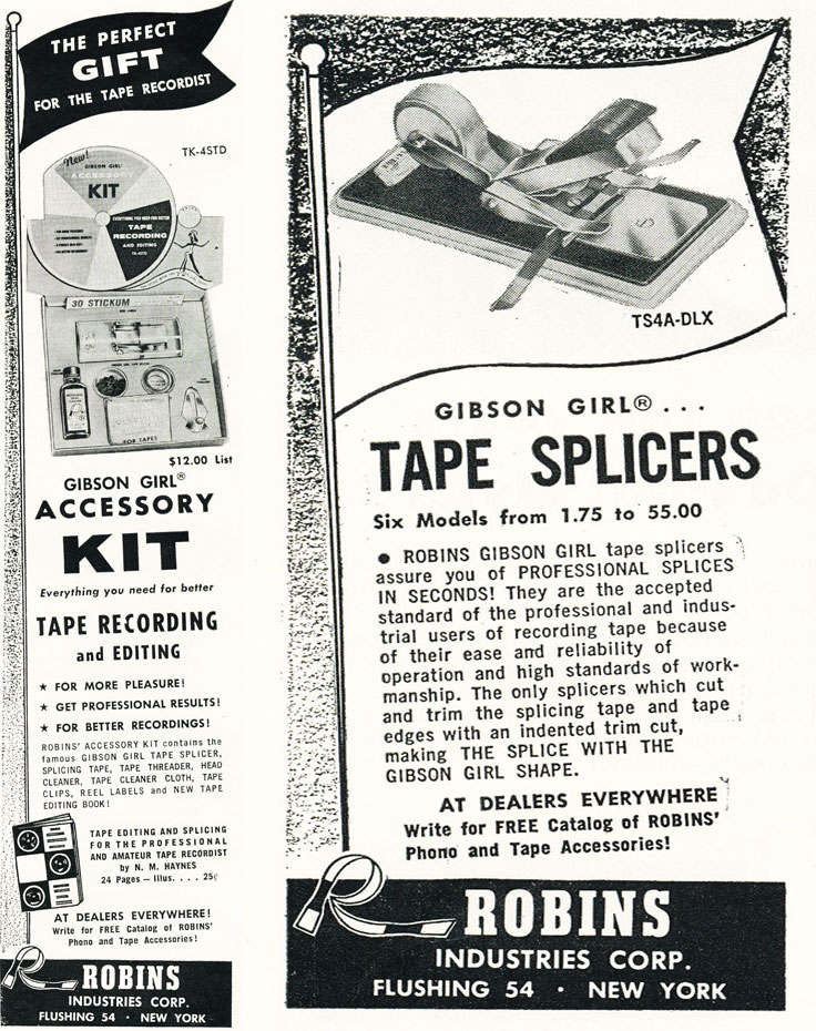 Gibson Girl  tape splicer ad in  the Museum of Magnetic Sound Recording