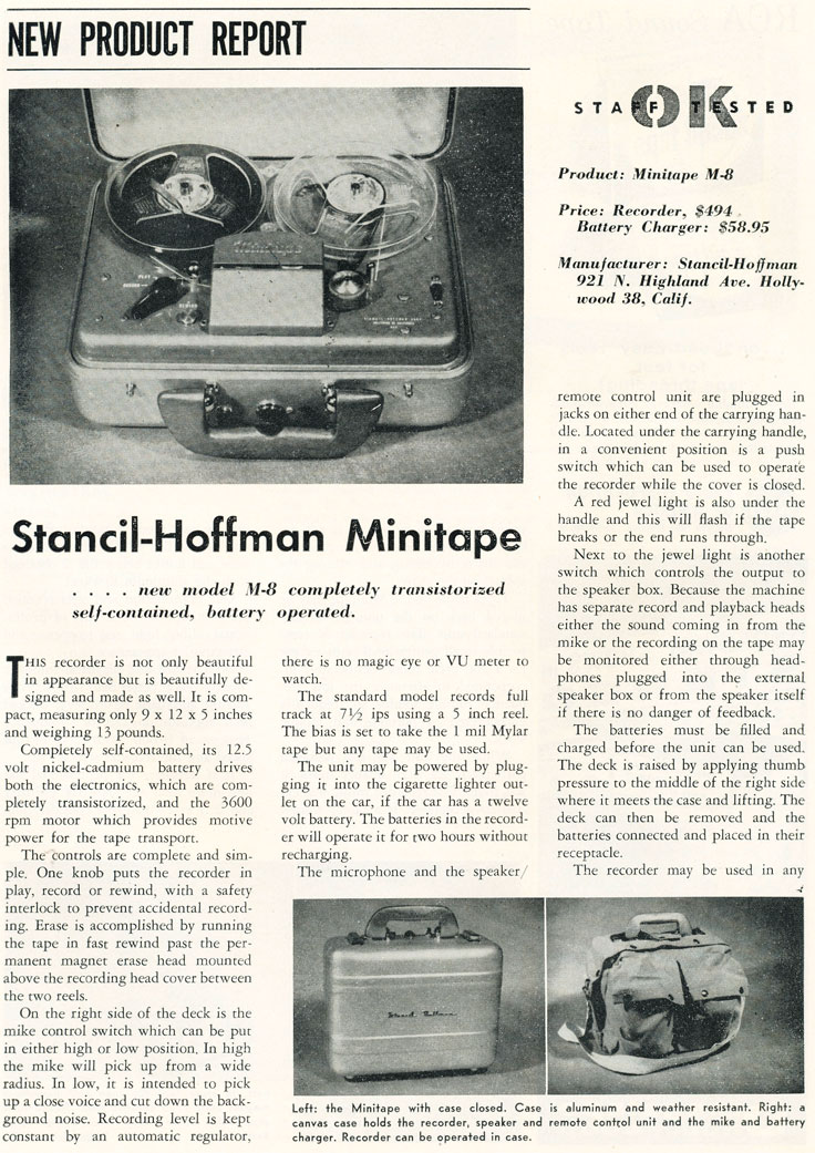 Stancil Hoffman MiniTape tape recorder review in the Reel2ReelTexas.com vintage recording collection