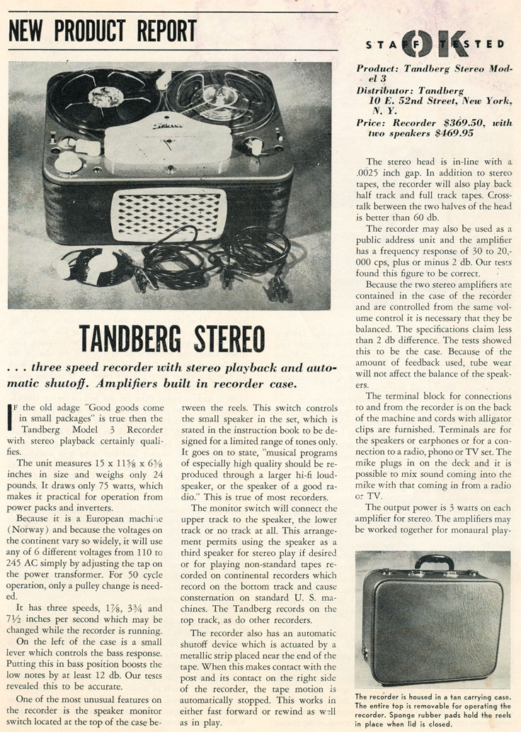 1958 Tandberg ad in the Reel2ReelTexas.com vintage recording collection