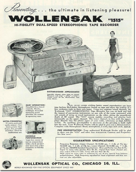 Wollensak ad for  reel tape recorder in the Reel2ReelTexas.com vintage reel tape recorder recording collection