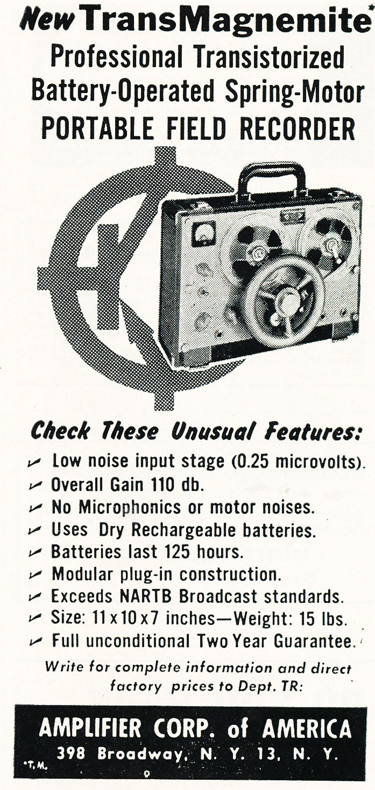 Amplifier Corp reel to reel tape recorder ad