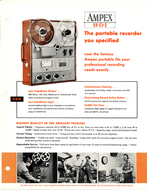1960 ad for the Ampex 601 professional reel to reel tape recorder in the Reel2ReelTexas.com vintage reel tape recorder recording collection