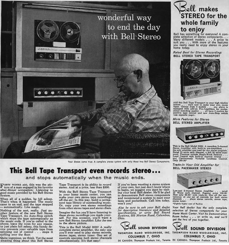 1956 ad for Bell  reel to reel tape recorders in Reel2ReelTexas.com's vintage recording collection