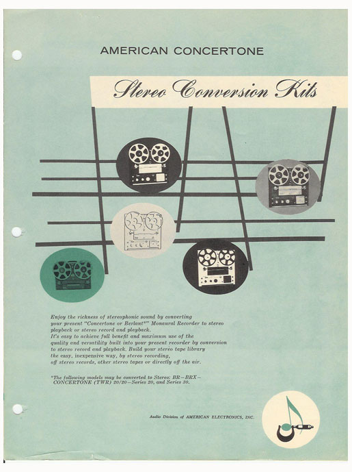 1959 brochure for Concertone reel to reel tape recorders in the Reel2ReelTexas.com vintage recording collection
