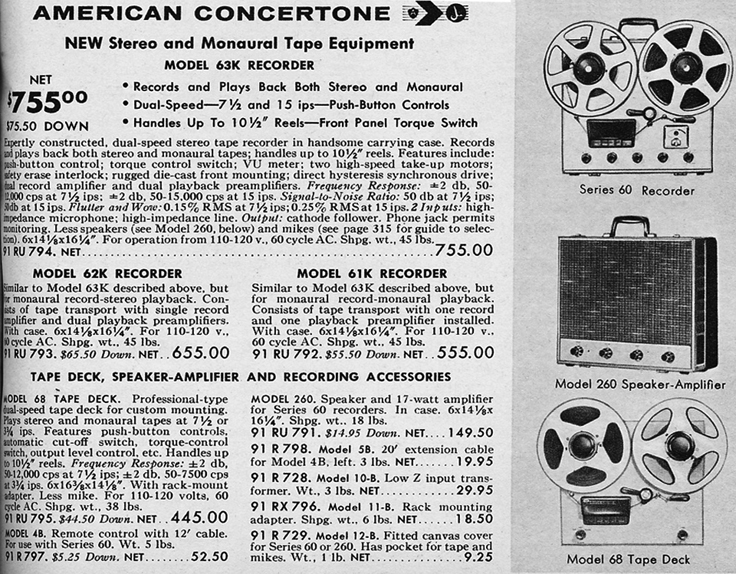 1959 ad for the Teac/Concertone 60, 63K and 68 reel to reel tape recorder in the Reel2ReelTexas.com vintage recording collection
