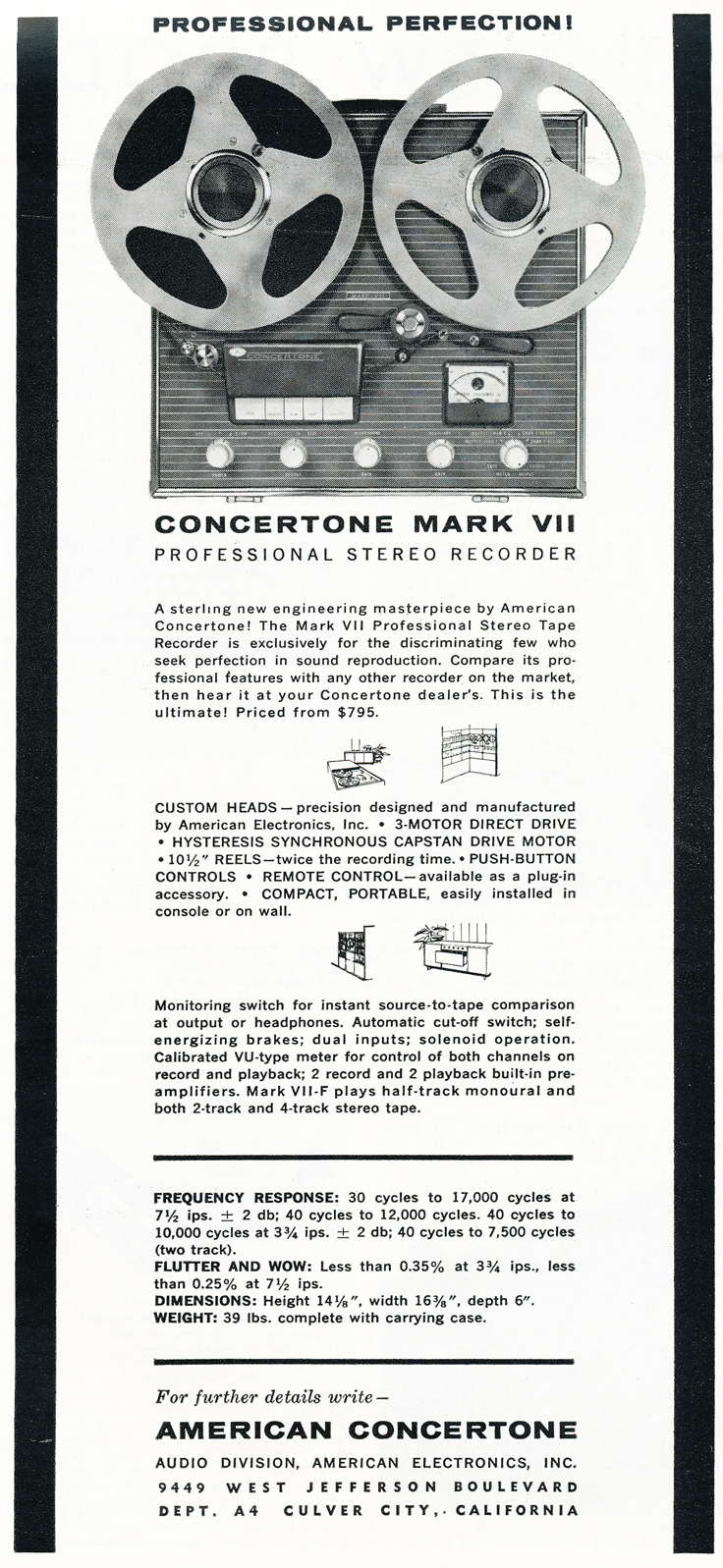 1959 ad for Concertone reel to reel tape recorders in the Reel2ReelTexas.com vintage recording collection