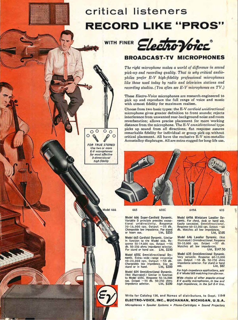 1959 ad for Electro Voice microphones in the Reel2ReelTexas.com vintage recording collection