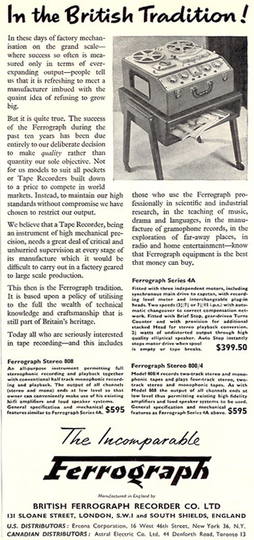 1959 ad for the UK Ferograph reel to reel tape recorder in the Reel2ReelTexas.com vintage recording collection