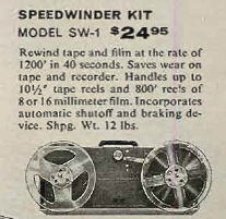 1959 ad for the HeathKit Sidewinder reel to reel tape rewinder in the Reel2ReelTexas.com's vintage recording collection