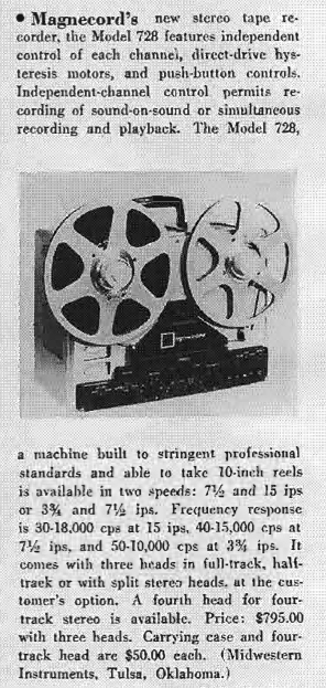 1959 ad for the Magnecord reel to reel tape recorder in the Reel2ReelTexas.com MOMSR vintage recording collection