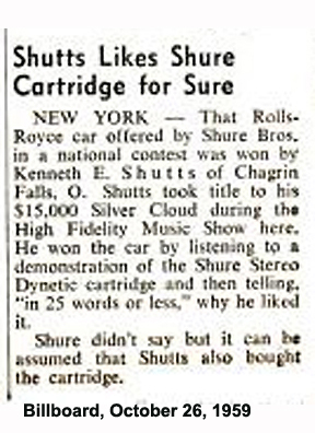 Shure Brothers offered a Rolls Royce in a national contest in October 1959
