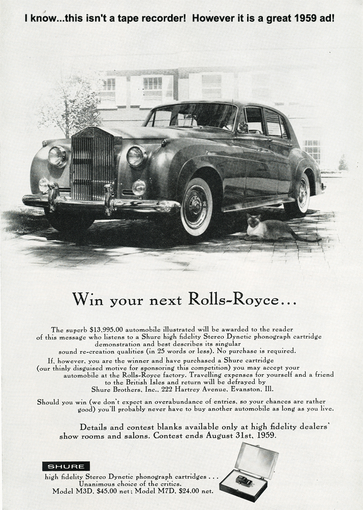 1959 Shure phono cartridge ad offering a trip to the UK to rceive a Rolls Royce