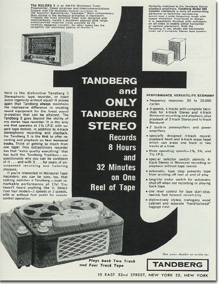 1957 Tandberg ad in the Reel2ReelTexas.com vintage recording collection