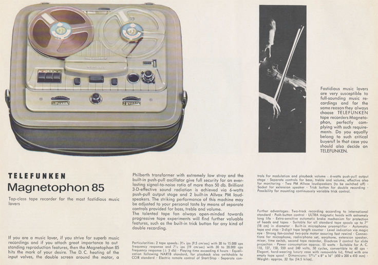 1962 ad for the Telefunken Magnetophon 85 reel tape recorder in the Reel2ReelTexas.com vintage recording collection