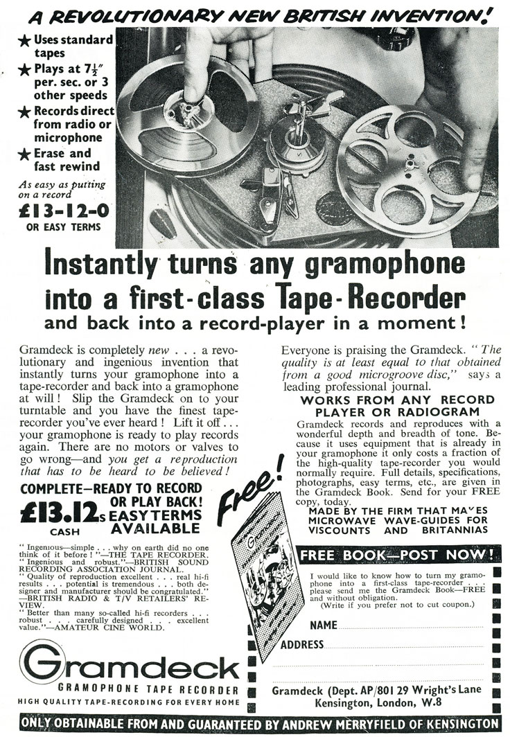 1959 ad for the United Kingdom Gramdeck that turns any gramophone into a  reel to reel tape recorder in the Reel2ReelTexas.com vintage recording collection