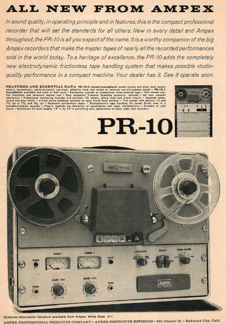 Ampex PR-10 tape recorder ad in the Museum of magnetic Sound Recording