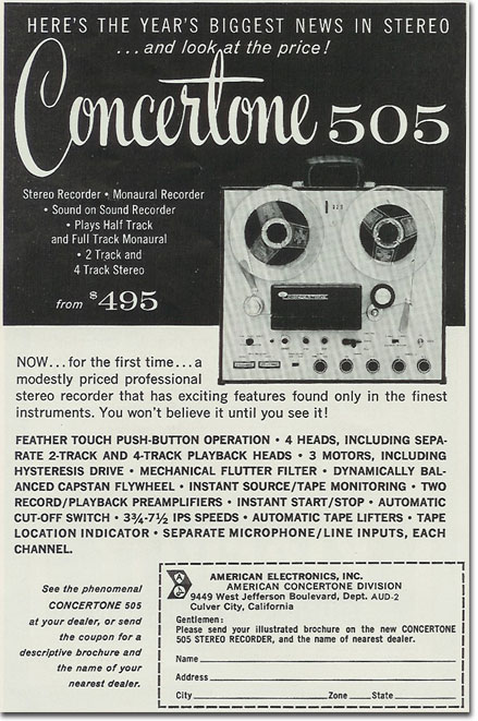 1960 ad for Concertone reel to reel tape recorders in the Reel2ReelTexas.com vintage recording collection
