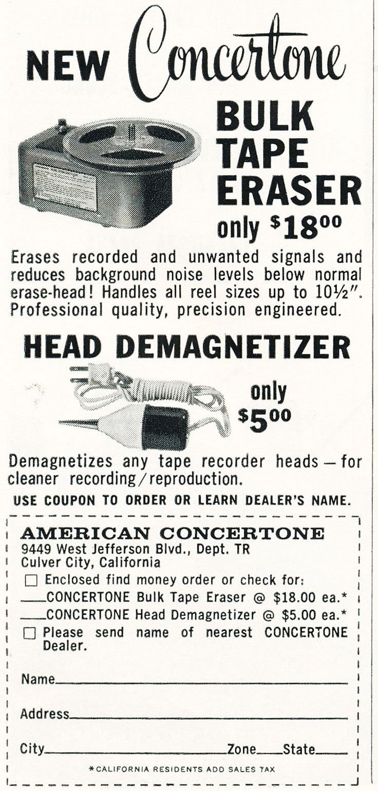1960 ad for the Concertone reel to reel tape recorder bulk eraser in the Reel2ReelTexas.com vintage recording collection