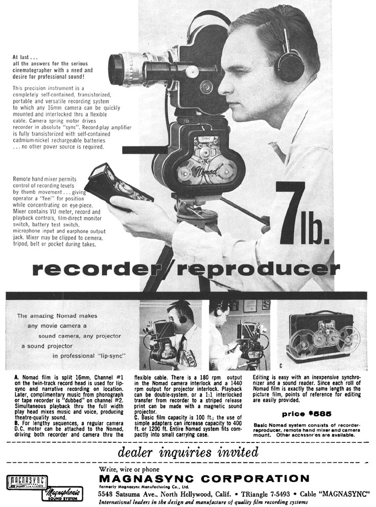 1960 ad for the Magnasync Nomad in the Reel2ReelTexas.com vintage reel tape recorder recording collection
