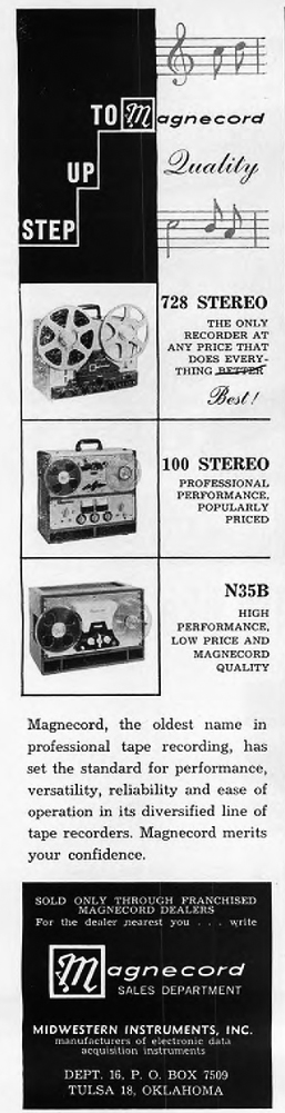1960 ad for the Magnecord reel to reel tape recorder in the Reel2ReelTexas.com MOMSR vintage recording collection